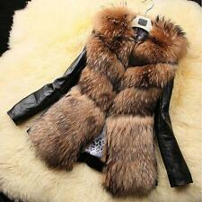 2015 Fashion Women Faux Fur Jacket Coat Winter PU Leather Long Sleeve Outerwear