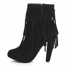 Black Braided Fringe Western Boots High Heel Stiletto Ankle Booties Womens