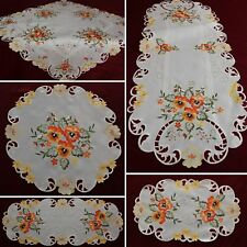 Cream-White Doily Table runner Tablecloth with Orange Pansy Floral Embroidery