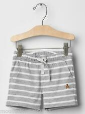 New BABY GAP Boy's Shorts Size 0 3 months BEAR Striped Cotton Pull On Gray