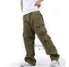 New Mens Loose Fit Casual cotton Cargo Overalls Baggy Pants Trousers Size 31-38
