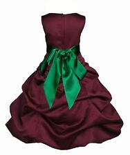 BURGUNDY QUINCEANERA FLOWER GIRL DRESS PAGEANT PARTY FORMAL 2 4 6 8 10 12 14 16