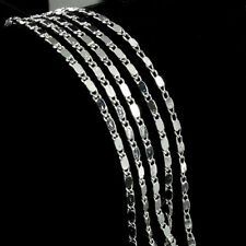 Wholesale 925 Sterling Silver Plated 2mm Charm Curb Flat Chain Necklace16-24inch