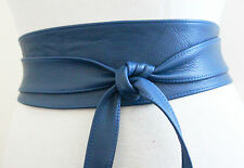 handcrafted Blue Real Leather Obi Belt | Wide Waist Belt | Sash Belt | Plus Size