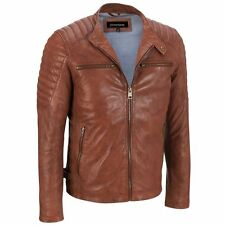 Men Real Genuine Leather Motorcycle Biker Coat Slim Fit Jacket