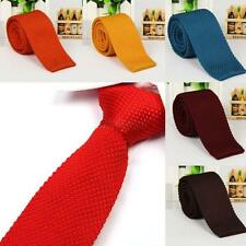 Retro Men Boy Skinny Narrow Knit Jacquard Plain Solid Woven Party Neck Tie E12