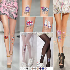 8 Colors Chic Women Tattoo Tights Pantyhose Sheer Stockings Ladies Print Socks