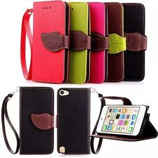 Dual Color Leaf Wallet Card Leather Flip Case Cover For iPod Touch 5th / 6th Gen