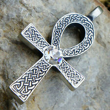 Celtic Ankh Cross of life White Clear Crystal Fake Diamond April pewter pendant