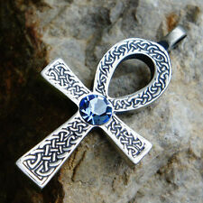 Celtic Ankh Cross of life Acrylic Crystal Blue Aquamarine March pewter pendant