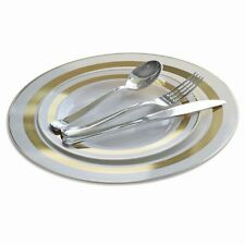 """""""OCCASIONS"""" Soleil Wedding disposable Plastic Plates & Silverware, Silver / Gold"""