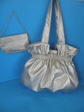 SET OF 2 LARGE USED SILVER FAUX LEATHER  HANDBAG PURSE AND SMALL EVENING BAG