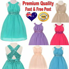 Party Formal Girls Dress Chiffon Sequin Special Occasion Graduation Size 6 to 14