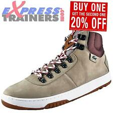 Lacoste Mens Auber Designer Leather Mid-Top Trainers Light Brown AUTHENTIC