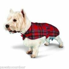 Dog coat jacket red or blue tartan, fleece lined all sizes pennine