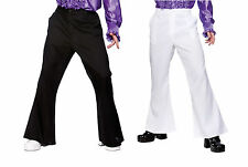 Adult Mens White / Black 1970's Fancy Dress Costume Disco Flares S M L XL