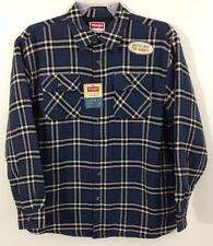 NWT Wrangler Flannel Quilt Lined Work Shirt Jacket Blue