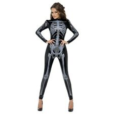 Womens Skeleton Costume Adult Halloween Fancy Dress Outfit
