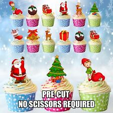 Mega Christmas Party Mix Edible Wafer Cup Cake Toppers Decorations 12 24 36 48