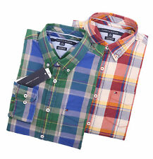 Tommy Hilfiger Men Long Sleeve Custom Fit Plaid Button Down Casual Shirt $0 Ship