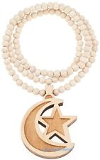 Crescent Moon With Star New Wood Pendant With 36 Inch Wood Beaded Necklace