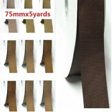 "by 5 Yards Grosgrain Ribbon 3"" /75mm for Wedding Ivory to Brown color"