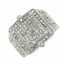 EDFORCE Stainless Steel Silver-Tone Clear CZ Hip-Hop Statement Mens Ring Band