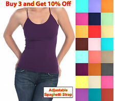 Women Ladies Basic Spaghetti Strap CAMI CAMISOLE TANK TOP Layering Plain Colors