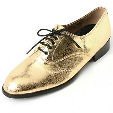 Men's lace up synthetic leather shiny gold oxfords low heel dress shoes US6-11.5