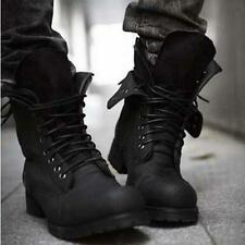 New Men's Winter Fashionable Retro Military Combat Boots Short Black Shoes Size