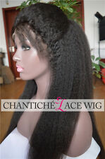Italian Yaki Indian Remy Human Hair Full Lace Wigs Kinky Straight Lace Front Wig