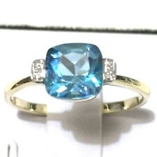 Real Solid 9K Yellow Gold 1.97ct  Cushion Genuine Swiss Blue Topaz, Diamond Ring