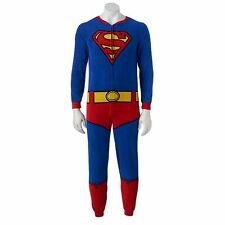 Superman Microfleece Unioin Suit with Cape Onesie Pajama Costume Loungewear