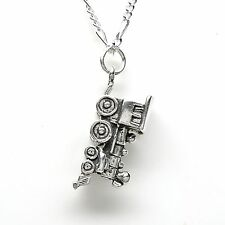 NARROW GAUGE TRAIN ENGINE 925 Sterling Silver Necklace Chain and Pendant #2171