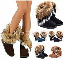 Womens Warm Snow Faux Shearling Fur Tassel Ankle Booties Mid Calf Furry Boots