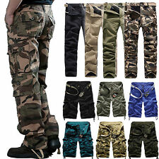 Mens Military Army Cargo Combat Camo Camouflage Work Pants Trousers Shorts 29-42