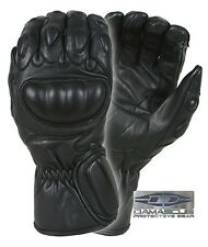 CRT100 Police SWAT RIOT CONTROL Black Leather Hard Stiff Knuckle Tactical Gloves