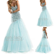 Sequins Net Sweetheart Long Formal Party Gown Prom Bridesmaid Evening Dresses