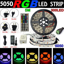 5M SMD 3528 5050 5630 RGB 300 LED Flexible Strip Light +Remote +12V Power Supply