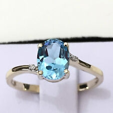 Real 9K Solid Yellow Gold YG 1.55 ct Genuine Swiss Blue Topaz & Diamond Ring