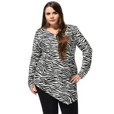 Women Plus Size Zebra Print Handkerchief Hem Scoop Neck Top