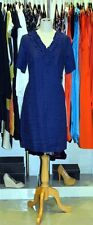 Topaz Designer Ladies Short Sleeve Blue Knee Length Dress Linen 12 Blue NEW