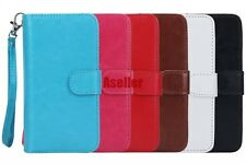 Flip 2in1 9 Card Slot Leather Purse Wallet Case Pouch + TPU Back Cover + Strap