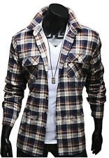 New Fashion Men's Luxury Plaids Casual Long Sleeve Dress Shirts Slim Fit Shirts