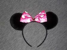 Girls One Size Minnie Mouse Ear Black with Pink Polka Dot Bow jeweled Heart