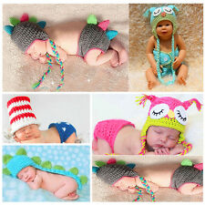 Newborn Boy Girl Baby Crochet Knit Costume Photography Photo Props Hat Clothes