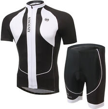 2016 Men Cycling Clothing Short Sleeve Bicyle Jersey (bib) Short Set White Black