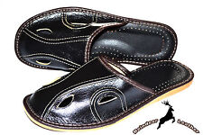 Mens Genuine Black Leather Slippers Shoes Sandal Handmade Poland Warm Soft Scuff