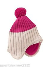 BABY GAP Girls Hat Newborn Cotton Knit Trapper Pink New