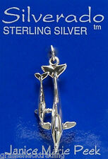 MOTHER DOLPHIN w-BABY CALF Solid Sterling Silver Pendant Charm w/Options #1903